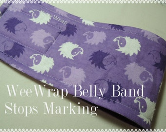 Hedge Hog Dog Belly Band, Purple Flannel, WeeWrap Stops Marking,  Personalized