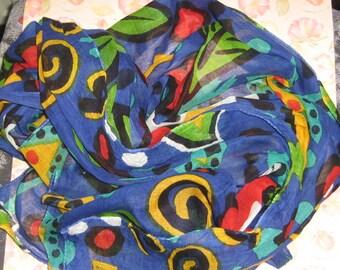 Vintage blue colorfull scarf