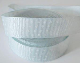 1 meter Ribbon 25 mm White Star print light blue grain