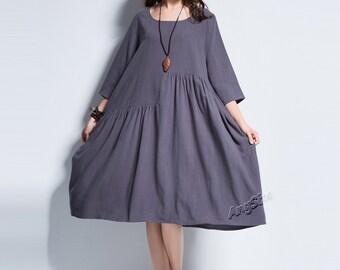 Anysize Spring Summer soft linen&cotton A-line dress plus size dress plus size tops plus size clothing Y90