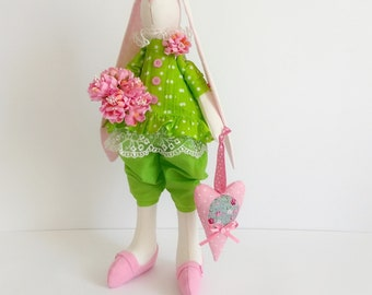 Amazing spring bunny doll in a light green blouse and a pink heart / Tilda bunny rabbit / OOAK  / Rag doll / Spring hare / Unique bunny