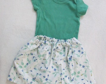 Eco-Friendly Summer Sooo Pretty!! 9 month green onesie with handmade floral skirt. Botique