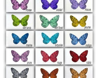 transparent glitter 5 cm silver - butterfly wings pattern Apolline - for figurines, fimo jewellery, decoration baby floral, home decor