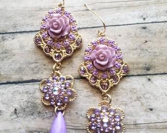 Fancy Purple Flower Earrings Dangle Earrings Gifts for Her Statement Earrings Prom Earrings Bridal Earrings Gifts for Bridesmaids Teardrop