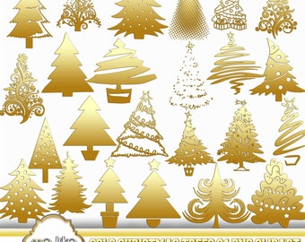 Digital Gold Christmas Trees Clip Art -INSTANT DOWNLOAD- 24 Individual Png Embellishments -Clipart for Personal or Commercial Use  - 300 DPI