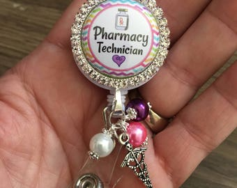 Retractable BADGE REEL ID Holder,  Pharmacy Technician Id , Lanyard Holder, Gift for  Pharmacist Tech, Id holder