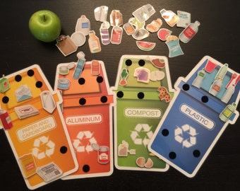 Recycle Sorting activity, busy bag, special education, home school, montessori, busy bag