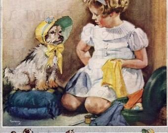 Little Girl Makes a Bonnet For Her DOG! Vintage Illustration. Digital Download. Vintage Digital Child and Dog Print.