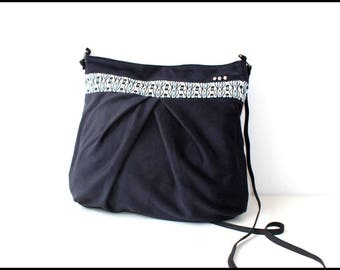 """Bag """"Penelope"""" Blue Suede Navy and white and blue ethnic border"""