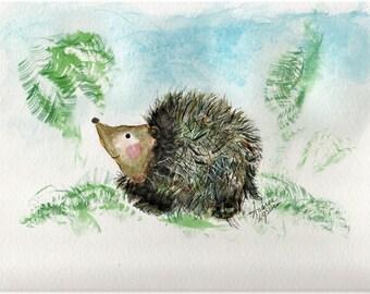 Hedgehog  Baby  Hedgehog Print Porcupine Art Hedgehog Art Animal  Art  Woodland Nursery  Wall Art