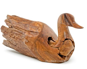 Carved Driftwood Duck