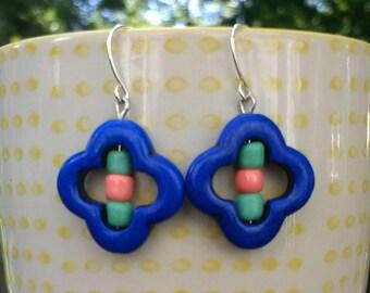 Blue, green, pink flower shape dangle earrings