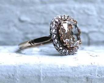 Antique 14K Yellow Gold Old Mine Cut Diamond Halo Ring Engagement Ring - 2.48ct.