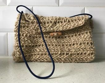 Rattan crossbody fold over bag/Woven Jute purse