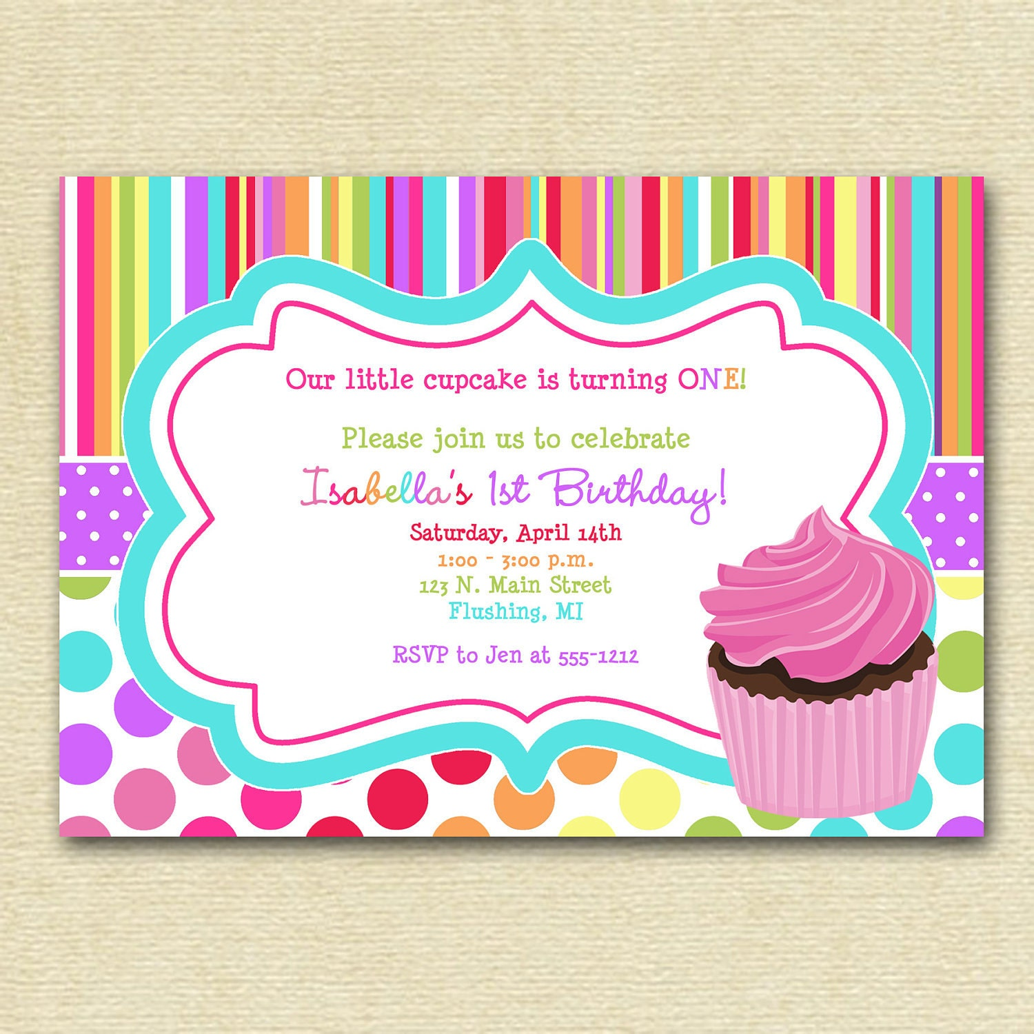 Cupcake birthday party invitation cupcake invitation zoom filmwisefo Gallery
