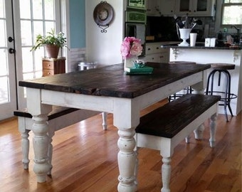 Exceptionnel Antique Heart Pine Rustic Distressed 6.5 Foot Farmhouse Table With Benches