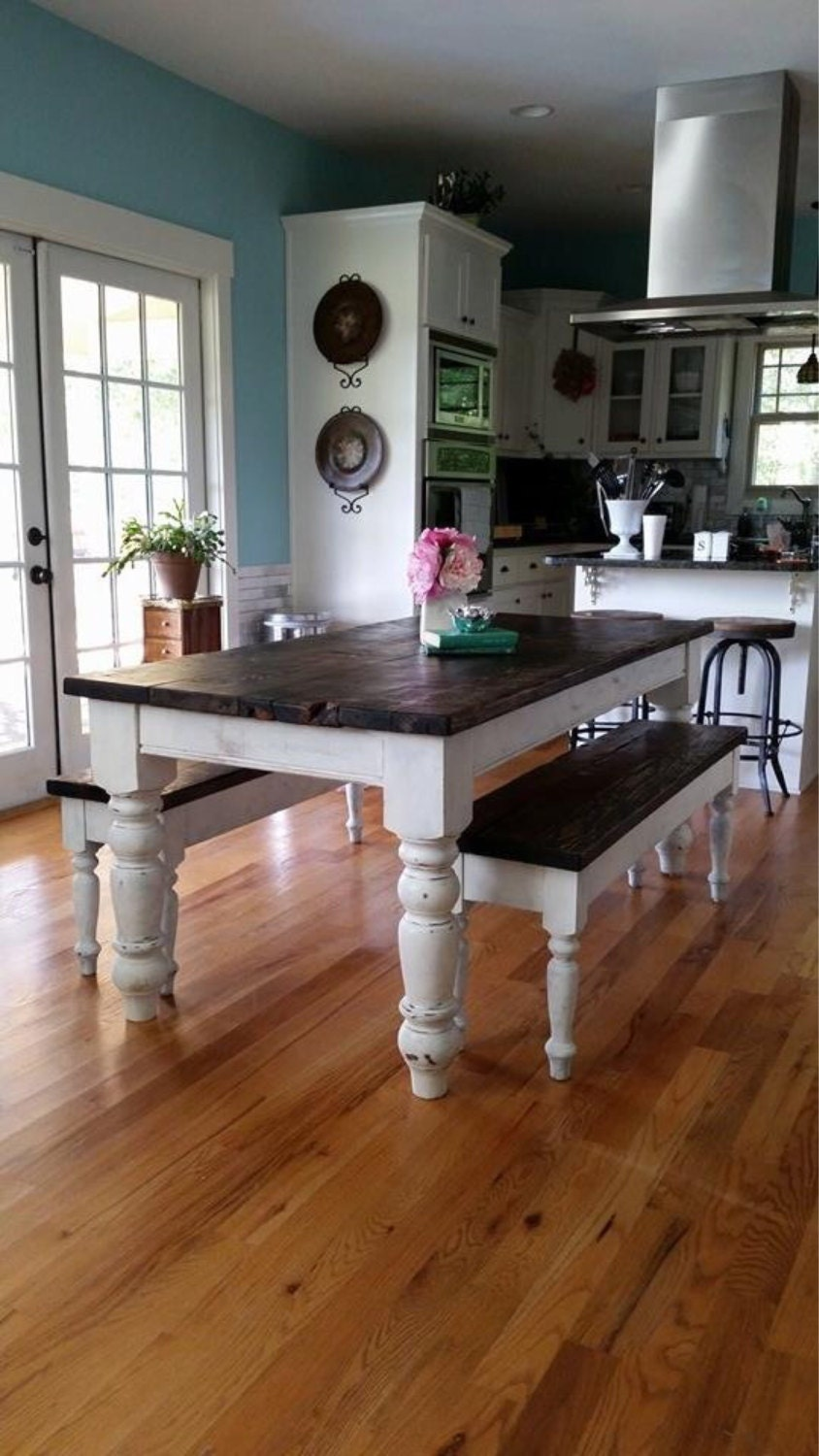 Description Hand Made Farm Table With Benches