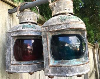 Pair Antique RUNNING LIGHTS LANTERNS Port and Starboard