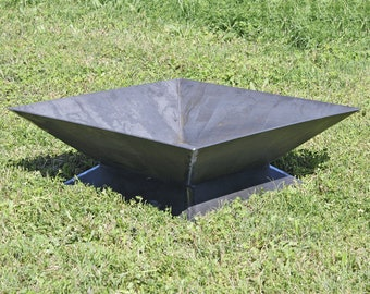 "The Zilker Fire Pit - 36"" (LOCAL PICKUP ONLY) - Steel Modern Metal bowl firepit box"