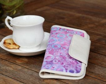 Purple batik wallet purse, fabric wallet, bifold purse, clutch wallet, women's wallet