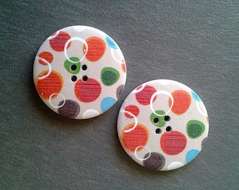 2 large buttons wood 4 cm printed dots