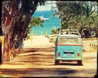 Vw Bus Art, VW Bus Photography, Surfing Wall Art, Retro VW Bus Art, Beach Wall Art, California Art Print, Catalina Island, Surfing Wall Art