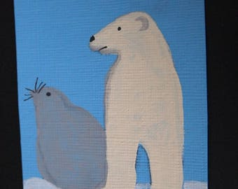 Original ACEO- Climate Change- Polar Bear & Seal