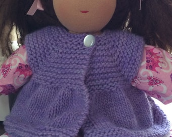 Sweater for 16-inch Waldorf Doll  Hand Knit Cardigan Sweater for Waldorf Dolls  **Periwinkle**