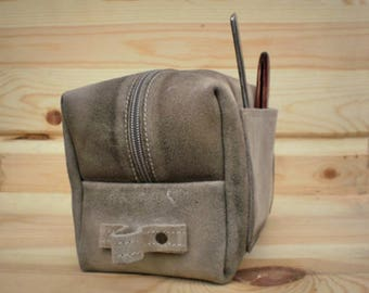 Personalized gift, Leather bag, Dopp kit, Toiletry Bag, Large shaving bag, Cosmetic case, Groomsman, Leather pouch, Beige, Makeup, Husband