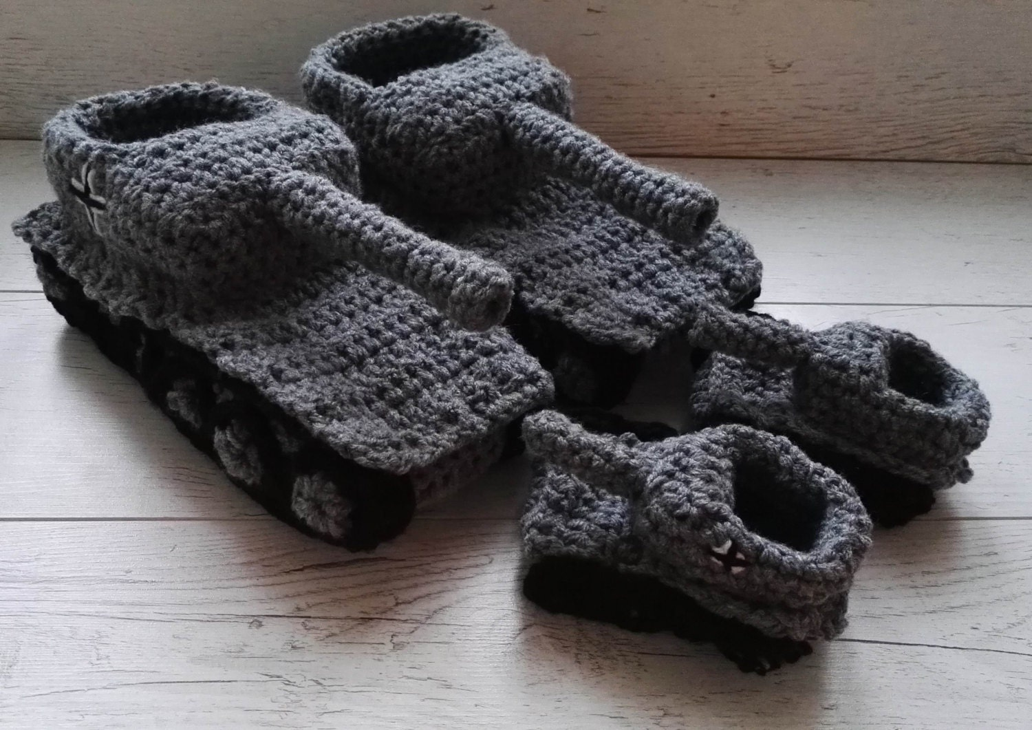 Father son tank slippers Crochet tank slippers dad son