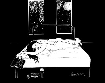 The Art of Not Giving a Fuck / Art Print Illustration / Celestial Alone Night Time Reading / Sad Girls Stay Home Club
