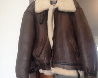SCHOTT B-3 USA Vintage Sheepskin Shearling Aviator Bomber Flight Jacket