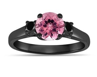 Pink Tourmaline Engagement Ring, With Black Diamond Three Stone Engagement Ring, Vintage Style 14K Black Gold 1.15 Carat Birthstone
