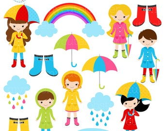 Rainy Day Character Clipart Set - clip art set of rain, clouds, umbrellas, rainy day - personal use, small commercial use, instant download