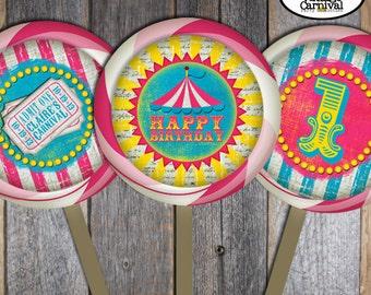 Carnival Lollipop Labels | Circus Lollipop Labels | Carnival Decorations | Circus Decorations | Pink Blue Yellow Girl | Printable