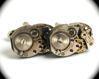 Steampunk Cufflinks Uniquely Shaped Vintage Watch Movements Rectangular Cuff Links by Nouveau Motley Rectangles