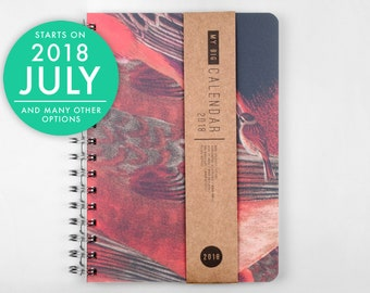 2018 2019 Planner Thick high quality paper! Bright birdy texture A5 Diary! Weekly Calendar Calendario Kalender Agenda Journal Open-dated