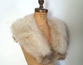 LARGE SILVER Fox Fur Collar / bridal wedding