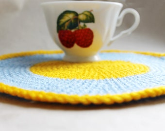 Crochet eco friendly trivet hot pad - blue - yellow