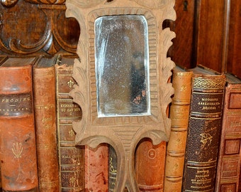 Antique French Vanity Hand Mirror Carved Wood