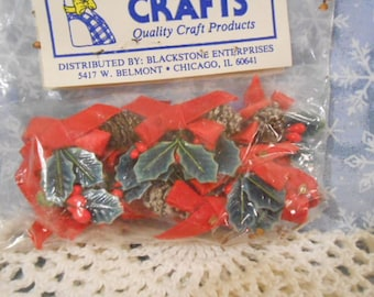 Miniature Pinecones/Holly/ Ribbons-Sealed-Old Store Stock *Special*