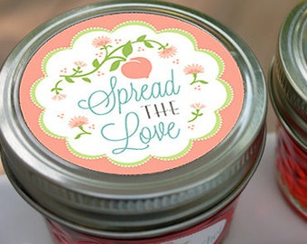 """Jam Labels, Wedding Labels, Preserves Labels to """"Spread the Love"""" and preserve memories with these personalized fruit labels"""