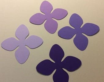 24 pcs hydrenga confetti, lilac,light purple,dark purple paper punch, 2 inch in size craft supply, scrapbookinh,cards, many craft projects.