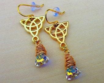 Aurora Borealis Earrings, 24K Gold Filled, Celtic Earrings. Celtic Jewelry.