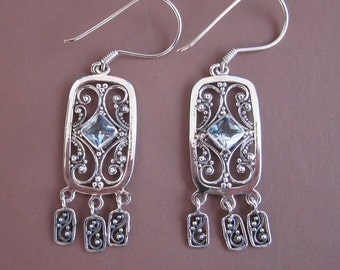 Sterling Silver Topaz dangle Earrings / 2.25 inches long / Jewelry handmade from Bali / Silver 925 /(#112K)