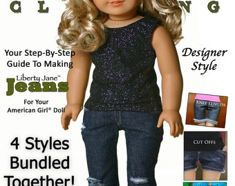 Pixie Faire Liberty Jane Jeans Doll Clothes Pattern for 18 inch American Girl Dolls