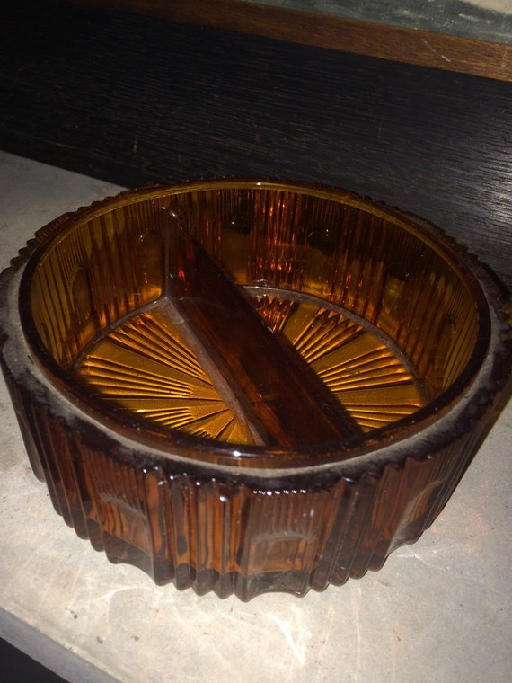 Vintage Amber Glass ashtray