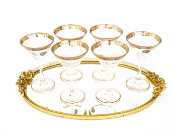 Vtg Hollywood Regency Gold Ormolu Large Oval Mirrored Vanity | Bar | Dresser | Display Tray