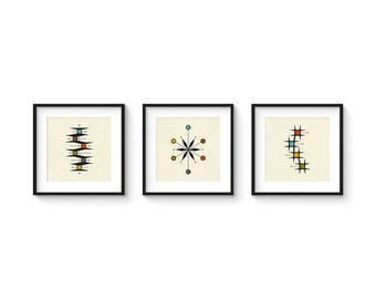 Mid Century Set no.6 - Square Version - Collection of (3) Giclee Prints - Abstract Mid Century Modern