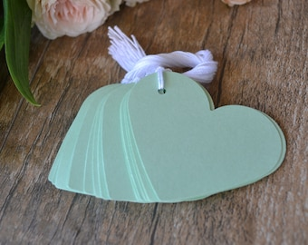 mint heart hang tags with string, mint heart gift tags, mint heart favor tags, mint heart price tags- 15 tags